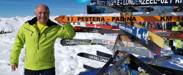 Un schi cu numele Stațiunii Peștera- Padina amplasat în cel mai vizibil loc din domeniul schiabil austriac, Silvretta Arena Ischgl-Samnaum