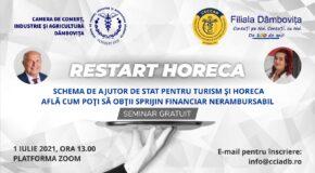 Camera de Comerț Dâmbovița și Corpul Experților Contabili organizează seminarul gratuit: RESTART HORECA